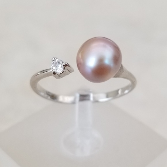 8mm Freshwater Lavender Pearl Open Design Ring